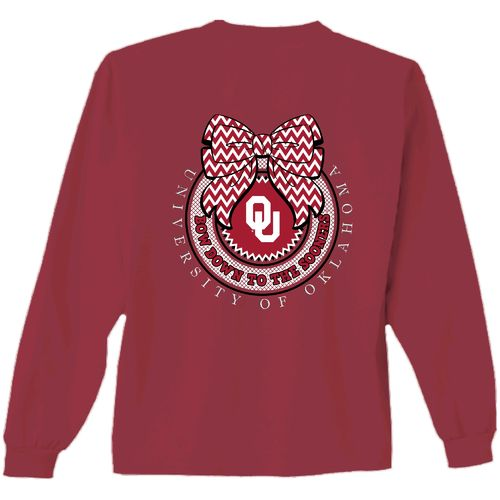 New World Graphics Women's University of Oklahoma Ribbon Bow Long Sleeve T-shirt