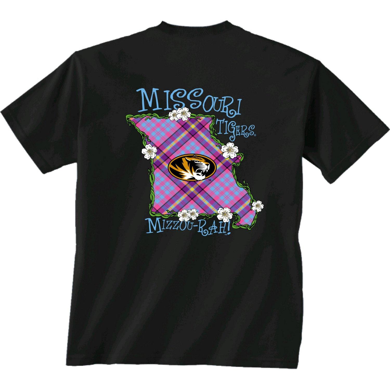 New World Graphics Women's University of Missouri State Bright Plaid T-shirt