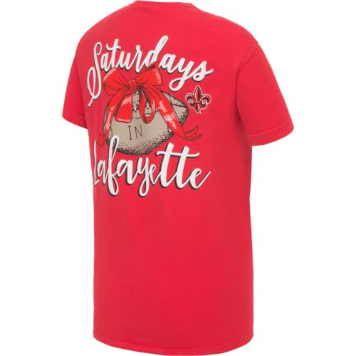 Image One Women's University of Louisiana at Lafayette Laces and Bows Comfort Color T-shirt
