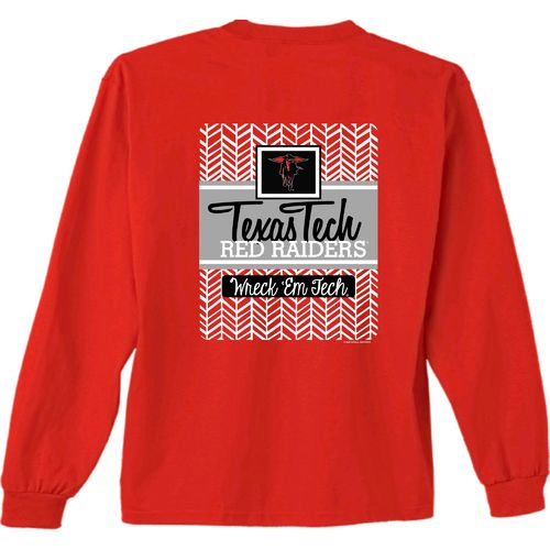 New World Graphics Women's Texas Tech University Herringbone Long Sleeve T-shirt