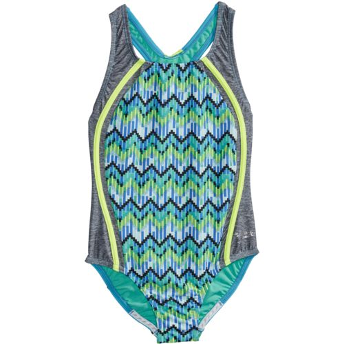 Speedo Girls' Digi Zigzag Heather Sport Splice 1-Piece Swimsuit