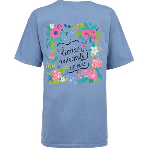 New World Graphics Women's Lamar University Comfort Color Circle Flowers T-shirt
