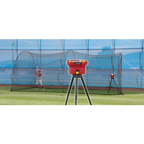 Heater Sports Crusher Mini Lite-Ball Pitching Machine and 22 ft Power Alley Batting Cage Combo