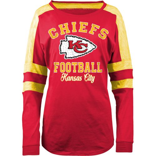 5th & Ocean Clothing Women's Kansas City Chiefs Space Dye Long Sleeve Fan Top