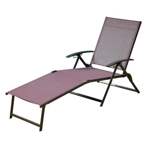 Academy mosaic folding sling chaise lounge - Folding outdoor chaise lounge ...