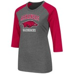 Colosseum Athletics Women's University of Arkansas Nimbus 3/4 Sleeve T-shirt