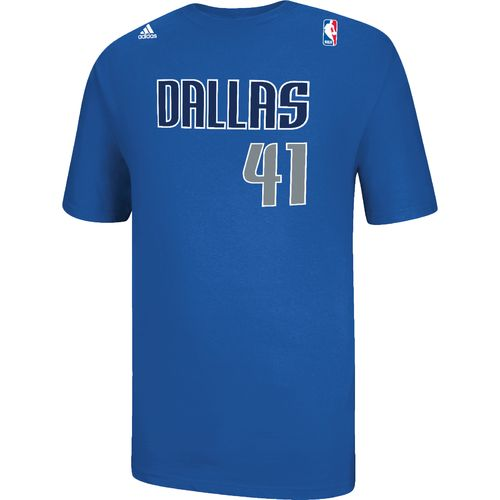 adidas™ Men's Dallas Mavericks Dirk Nowitzki #41 Game Time Flat Road T-shirt