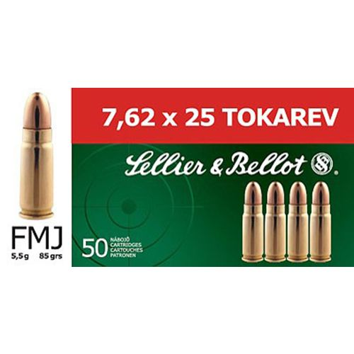 Sellier & Bellot 7.62 x 25mm Tokarev 85-Grain Full Metal Jacket Centerfire Rifle Ammunition
