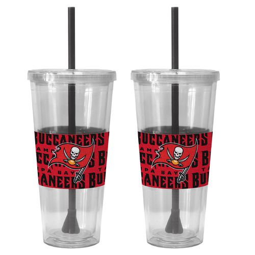Boelter Brands Tampa Bay Buccaneers Bold Neo Sleeve 22 oz. Straw Tumblers 2-Pack