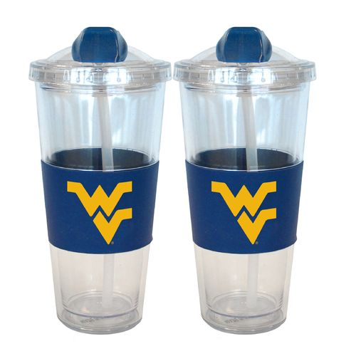 Boelter Brands West Virginia University 22 oz. No-Spill Straw Tumblers 2-Pack - view number 1