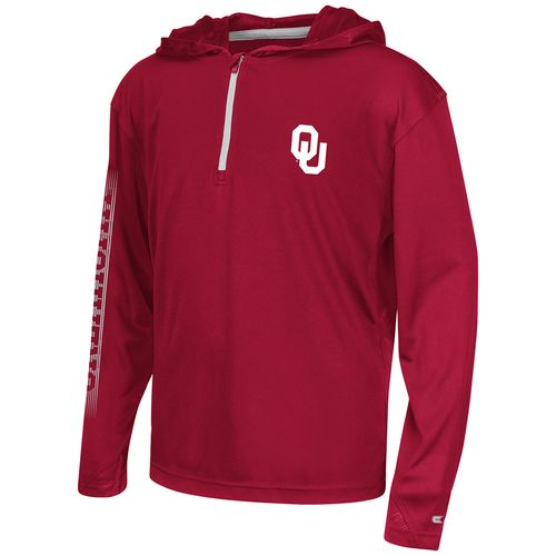 Colosseum Athletics™ Boys' University of Oklahoma Sleet 1/4 Zip Hoodie Windshirt