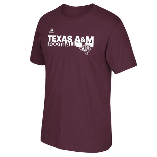 adidas™ Men's Texas A&M University Sideline Grind Football T-shirt