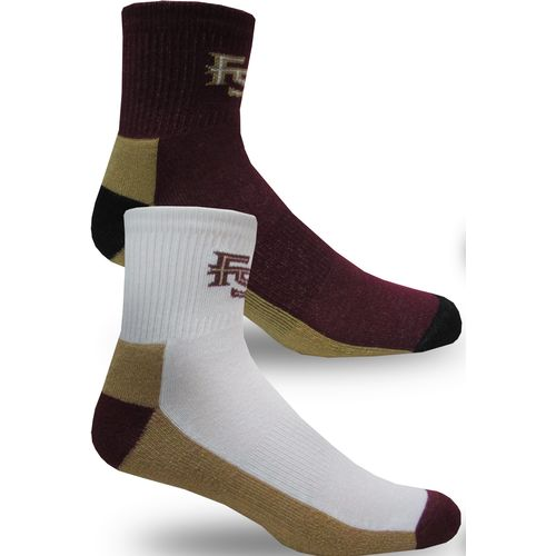 Topsox Men's Florida State University Broken Stripe Quarter Socks 2 Pairs