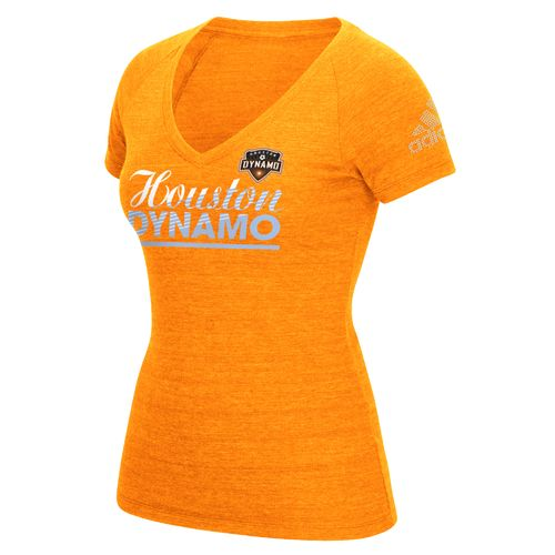 adidas Women's Houston Dynamo Slant Line Repeat V-neck T-shirt