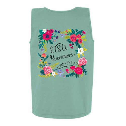 New World Graphics Women's East Tennessee State University Circle Flowers Tank Top