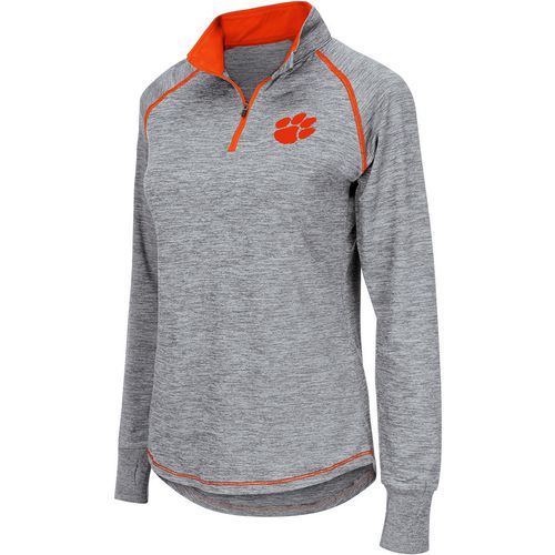 Colosseum Athletics Women's Clemson University Bikram 1/4 Zip Long Sleeve T-shirt