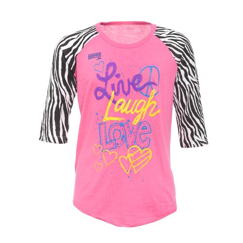 Soffe Girls' Printed Zebra Sleeve Baseball T-shirt