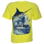 Guy Harvey Men's Marlin Boat Neon T-shirt