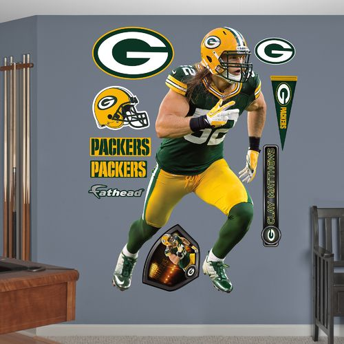 Fathead Green Bay Packers Clay Matthews Home Real