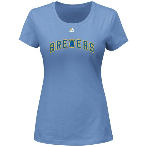 Majestic Women's Milwaukee Brewers Wordmark Short Sleeve Crew Neck T-shirt - view number 1