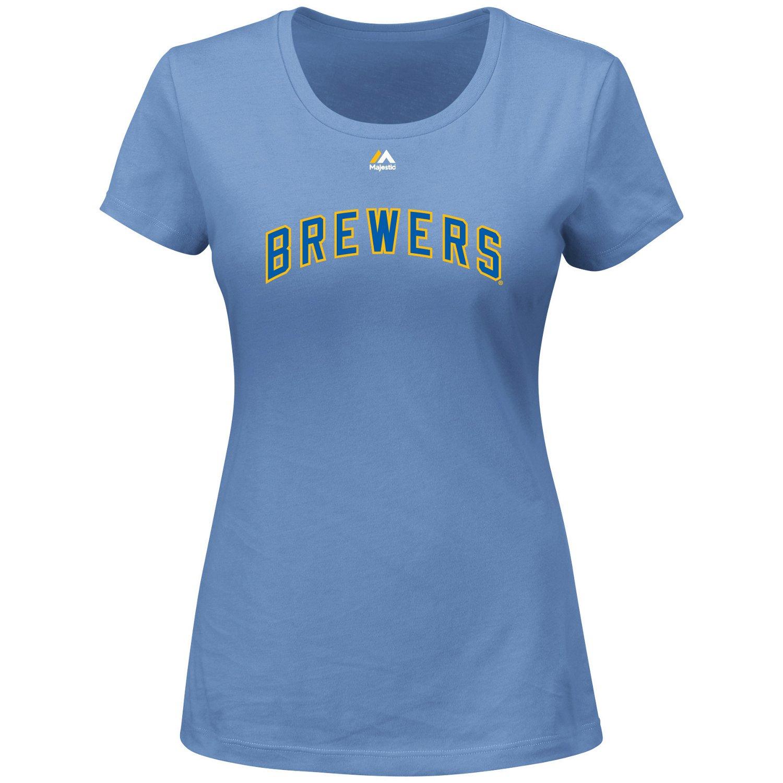 Majestic Women's Milwaukee Brewers Wordmark Short Sleeve Crew