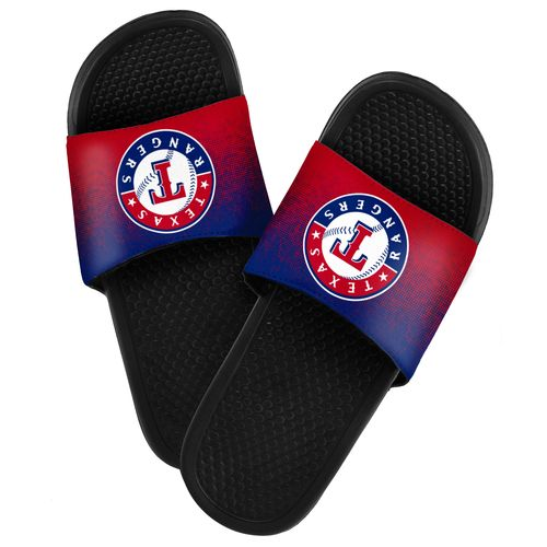 Forever Collectibles™ Men's Texas Rangers Textured Sport Slides