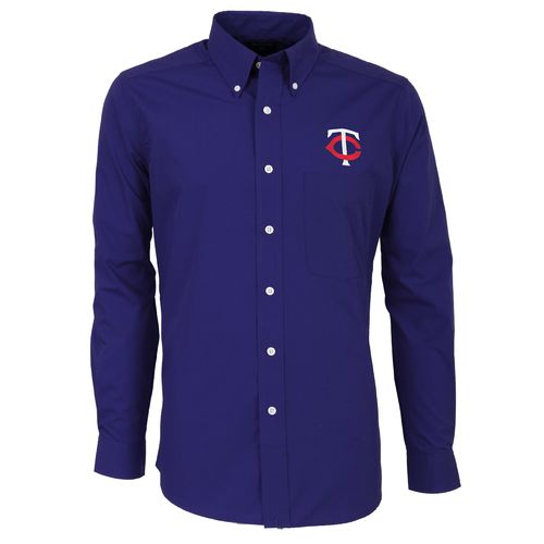 Antigua Men's Minnesota Twins Dynasty Long Sleeve Button Down Shirt