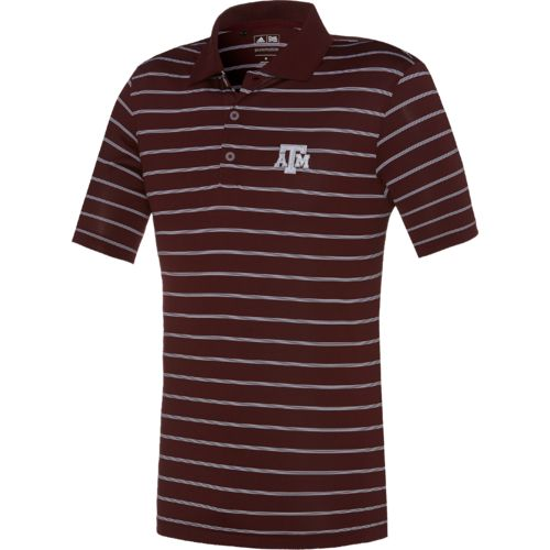 adidas™ Men's Texas A&M University Striped Polo Shirt