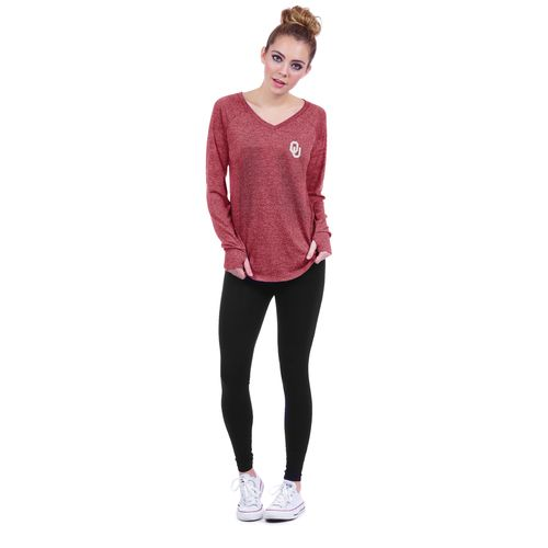 Chicka-d Women's University of Oklahoma Favorite V-neck Long Sleeve T-shirt - view number 4