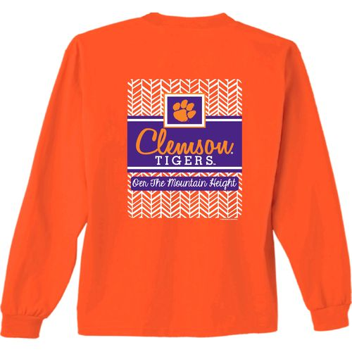 New World Graphics Women's Clemson University Herringbone Long Sleeve T-shirt