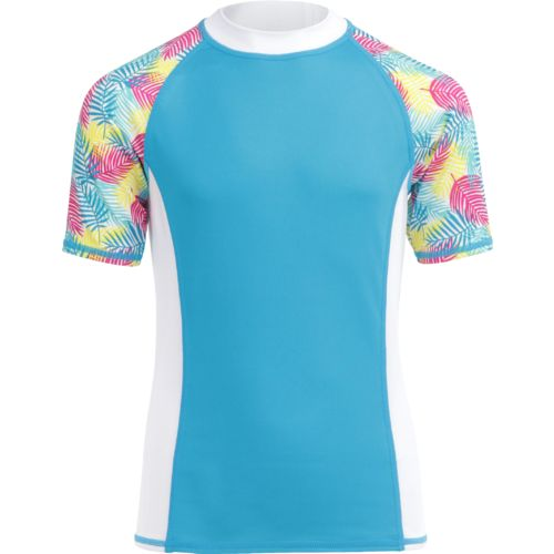 O'Rageous® Girls' Palm Print Raglan Short Sleeve Rash Guard