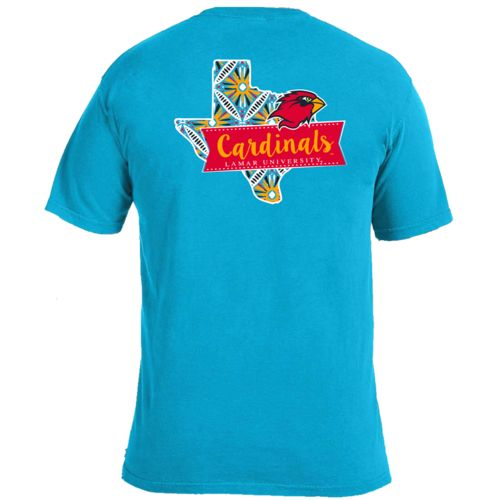 Image One Women's Lamar University Pattern Scroll State T-shirt