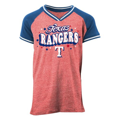 5th & Ocean Clothing Girls' Texas Rangers Jersey Wordmark T-shirt
