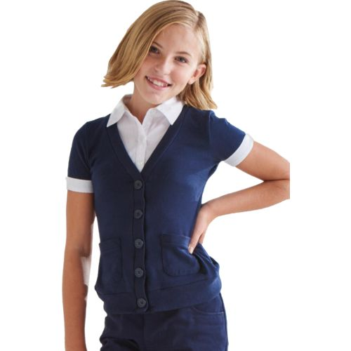 French Toast Toddler Girls' Short Sleeve Cardigan and Blouse 2-fer Uniform Top - view number 3