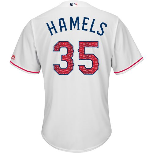 Majestic Men's Texas Rangers Cole Hamels Stars and Stripes COOL BASE Jersey - view number 1