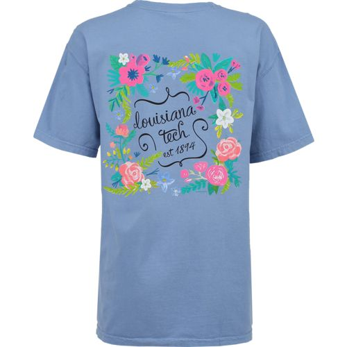 New World Graphics Women's Louisiana Tech University Comfort Color Circle Flowers T-shirt