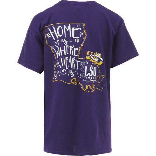 New World Graphics Girls' Louisiana State University Where the Heart Is Short Sleeve T-shirt