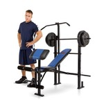 Marcy MCB-252 Weight Bench with 120 lb. Weight Set and Lat Tower