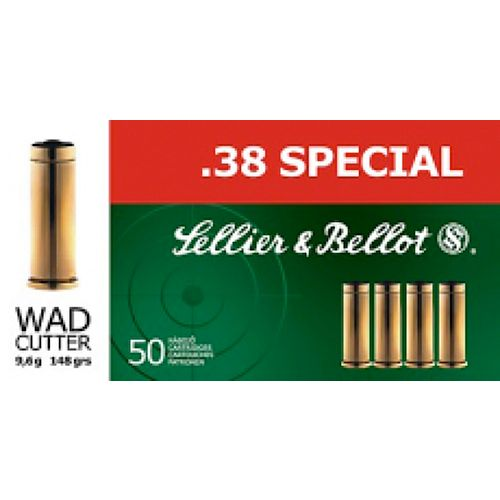Sellier & Bellot 158-Grain Lead Flat-Nose Centerfire Handgun Ammunition