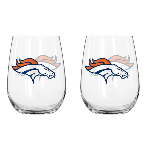 Boelter Brands Denver Broncos 16 oz. Curved Beverage Glasses 2-Pack