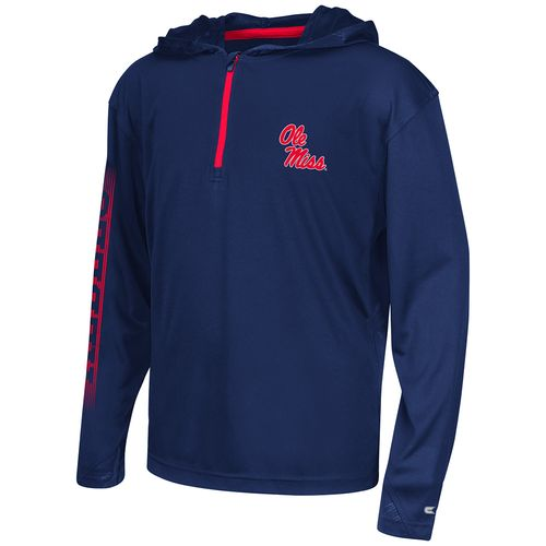 Colosseum Athletics™ Boys' University of Mississippi Sleet 1/4 Zip Hoodie Windshirt