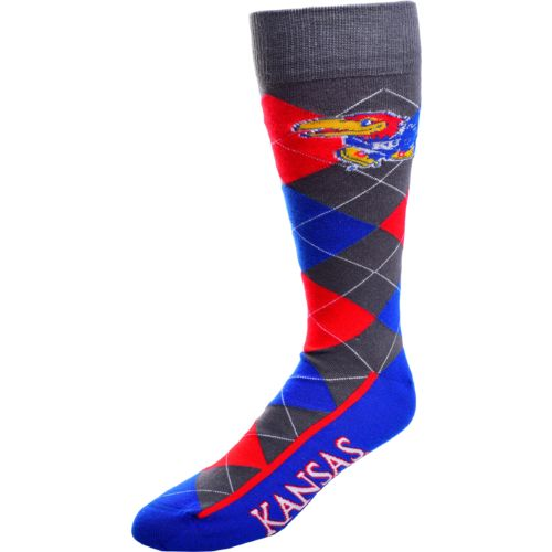 FBF Originals Men's University of Kansas Argyle Zoom Dress Socks
