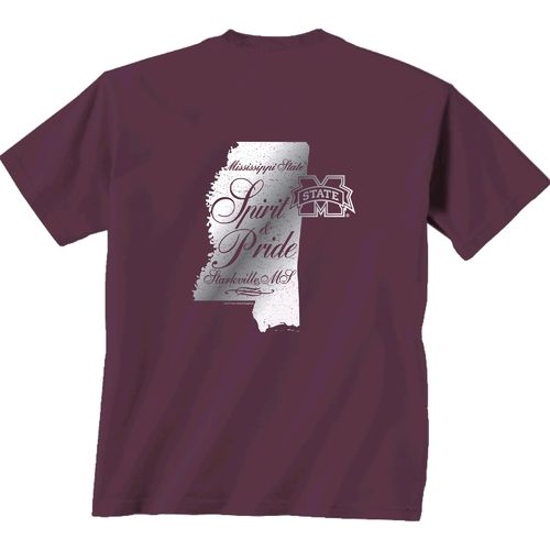 New World Graphics Women's Mississippi State University Silver State Distress T-shirt