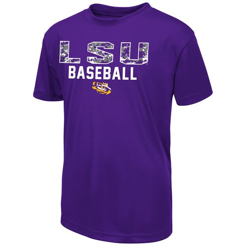 Colosseum Athletics Boys' Louisiana State University Digi Camo Baseball T-shirt