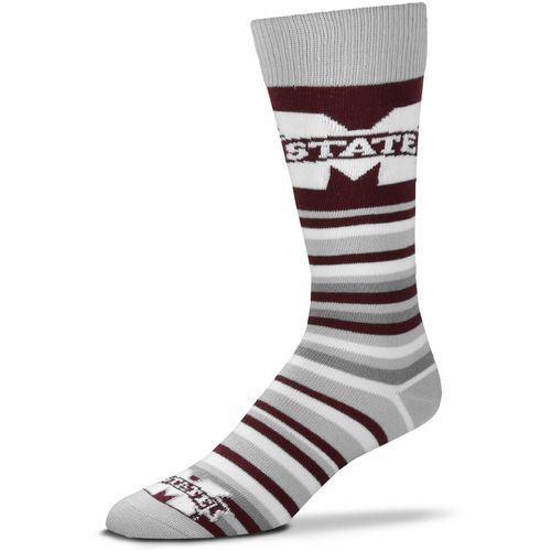 For Bare Feet Mississippi State University Lotta Stripe Thin Knee High Dress Socks