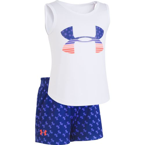 Under Armour Toddler Girls' Flag Big Logo Tank Top and Shorts Set