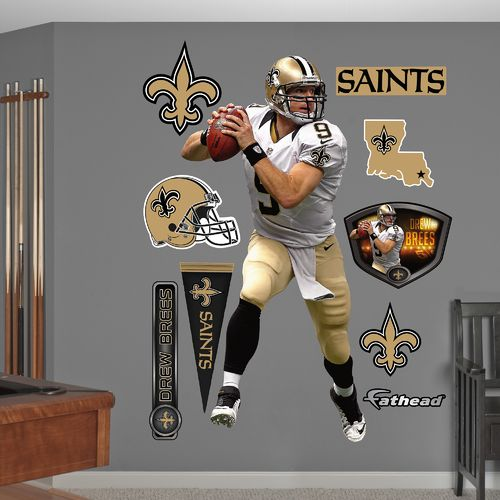 Fathead New Orleans Saints Drew Brees Away Real