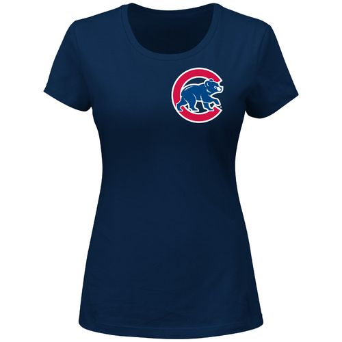 Majestic Women's Chicago Cubs Road Wordmark Short Sleeve Crew Neck T-shirt