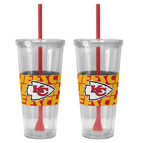 Boelter Brands Kansas City Chiefs Bold Neo Sleeve 22 oz. Straw Tumblers 2-Pack