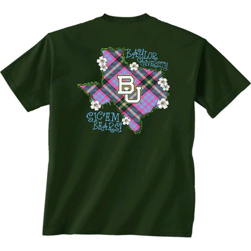 New World Graphics Women's Baylor University Bright Plaid T-shirt